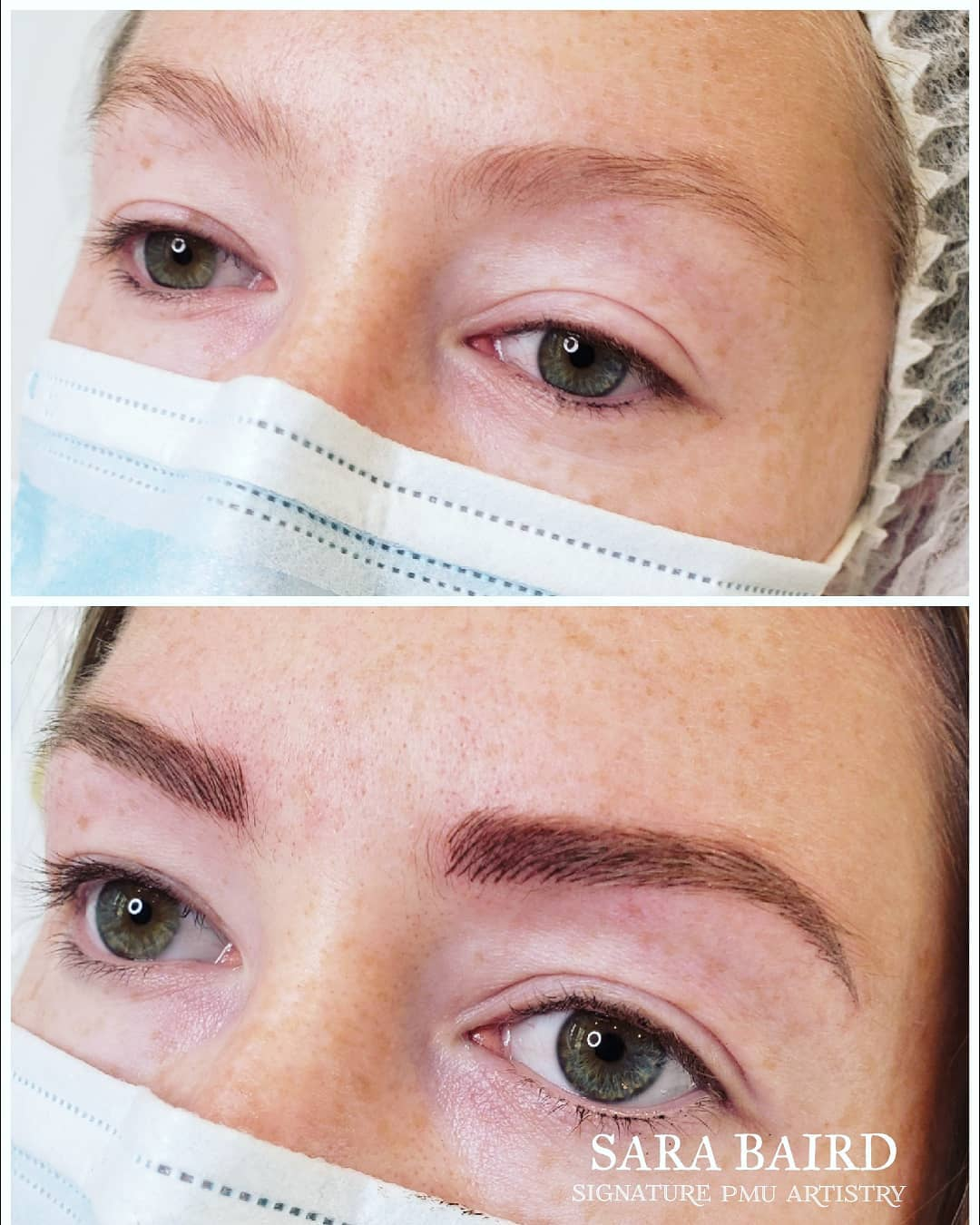 well shaped women eyebrows before and after view