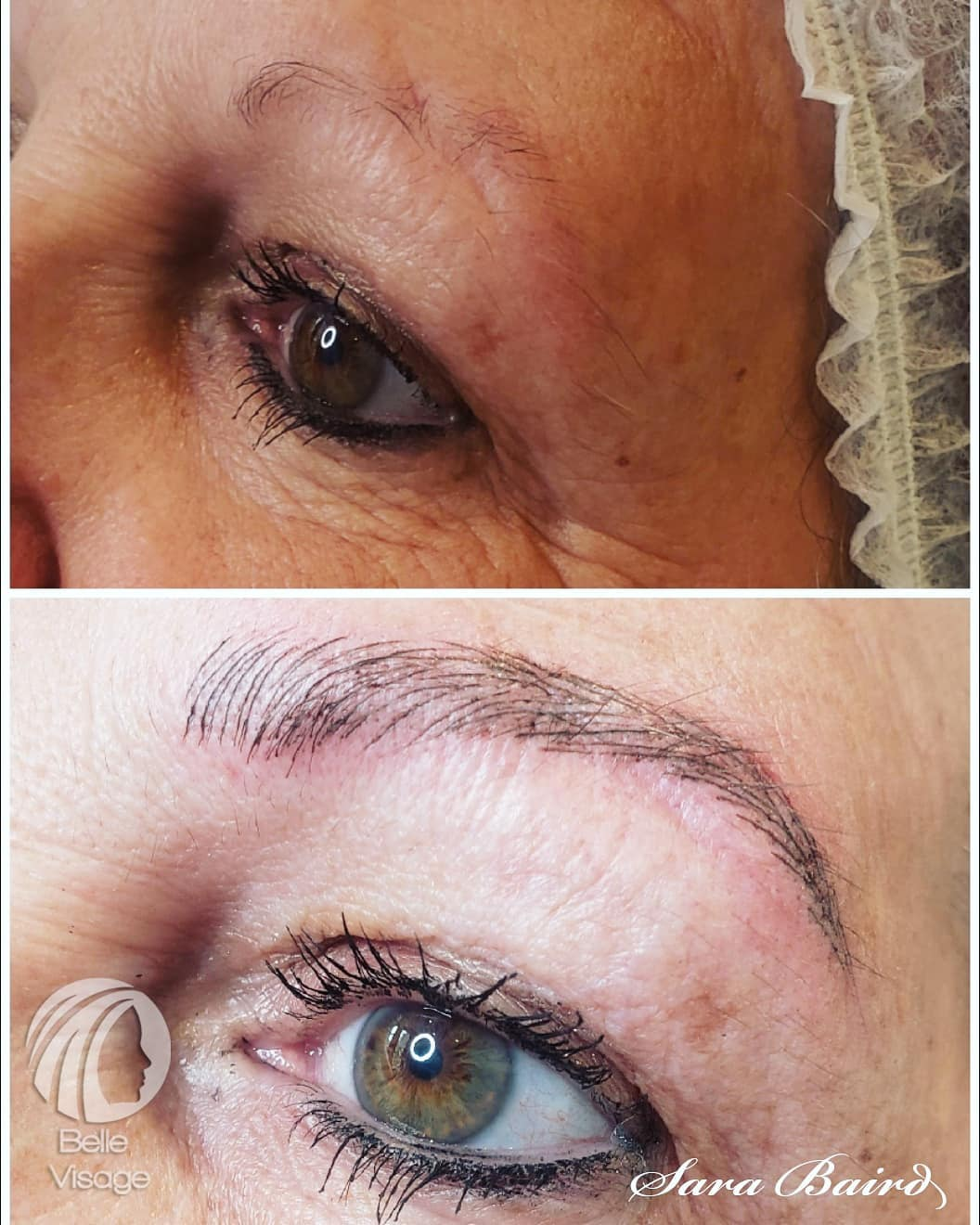 shaped eyebrow before and after view