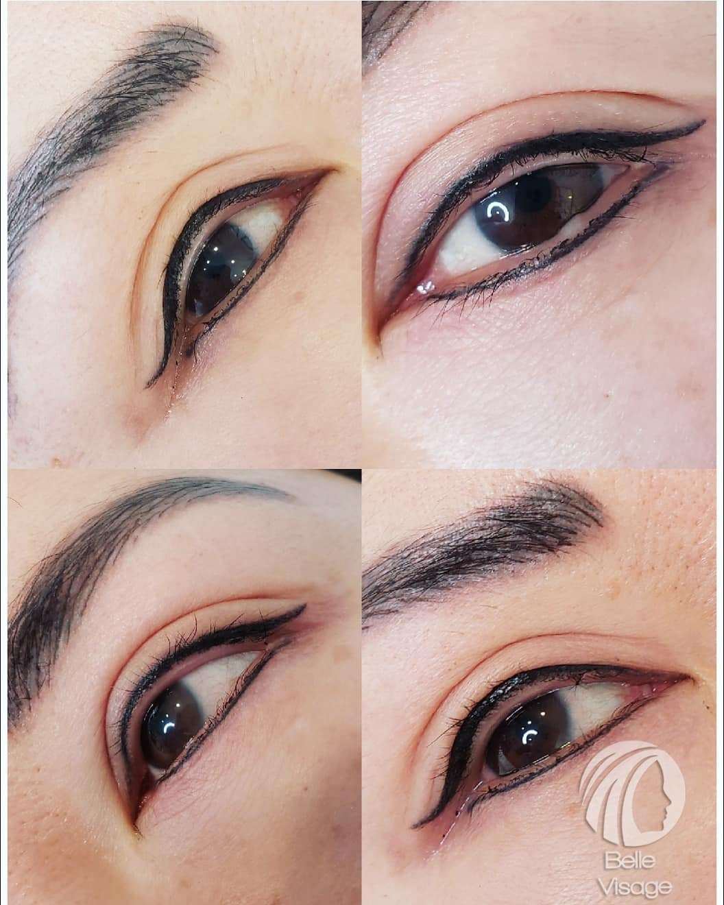 before and after view of permanent eyebrow and eyeliner