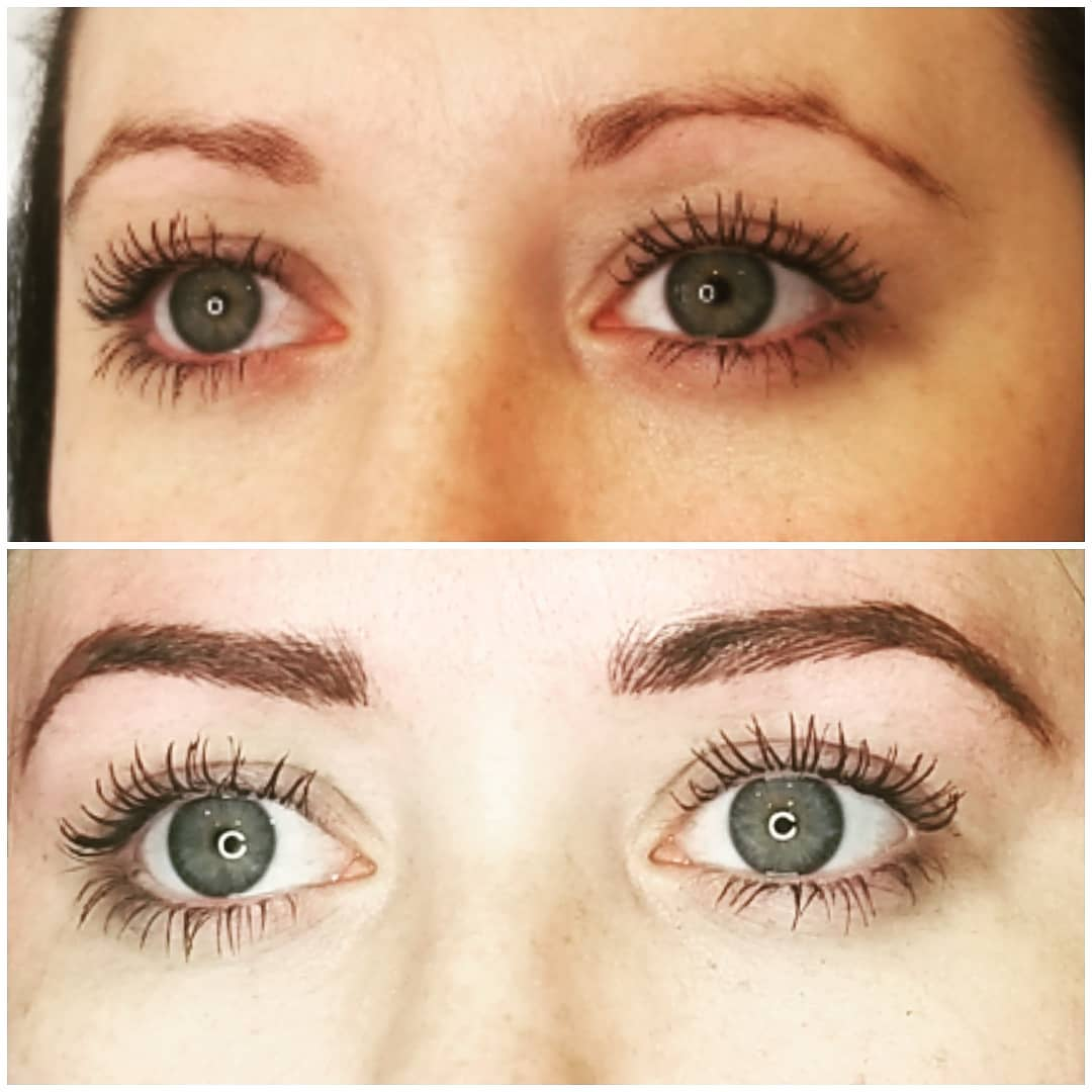 woman eyebrows before and aftre view