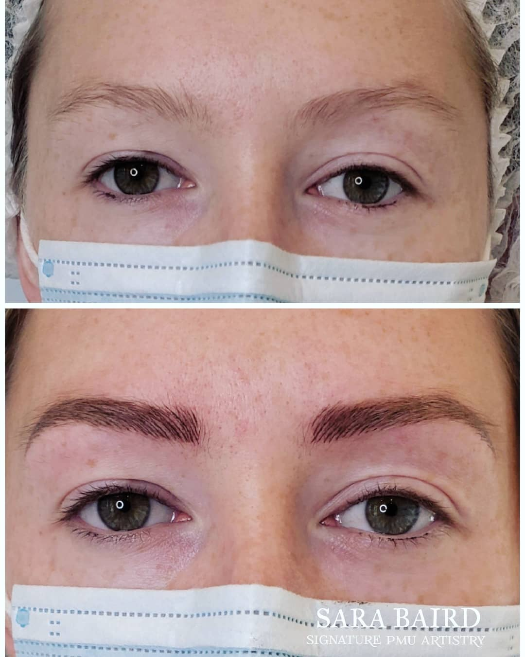 view of a woman before and after eyebrow treatment